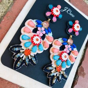 J.Crew Embroidered Floral Leather-Backed Earrings